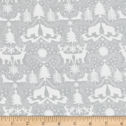 Lewis & Irene Northern Lights Metallic Northern Silhouettes Grey