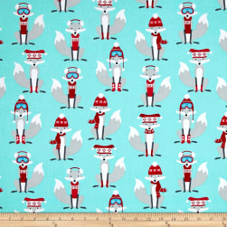 Kaufman Polar Pals Holiday Foxes Aqua Fabric