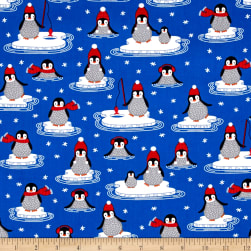 Kaufman Polar Pals Holiday Penguins Royal Fabric