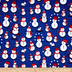 Kaufman Polar Pals Holiday Snowmen Royal Fabric