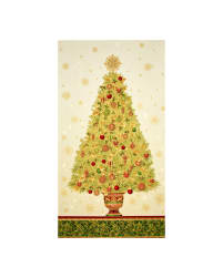 Kaufman Winter's Grandeur 4 Metallics 24'' Tree Panel Holiday Fabric
