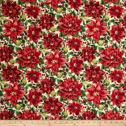 Holiday Traditions Metallic Poinsettias Multi Fabric