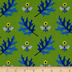 Jane Sassaman Leaf Dance Busy Bee Periwrinkle Fabric