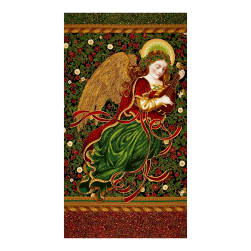 Kaufman Holiday Flourish Metallics Angel 24 In. Panel Black Fabric