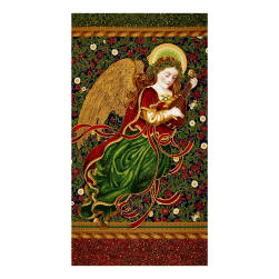 Kaufman Holiday Flourish Metallics Angel 24 In. Panel Royal Fabric