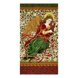 Kaufman Holiday Flourish Metallics Angel 24 In. Panel Holiday