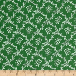Storybook Christmas Lattice With Bells Green Fabric