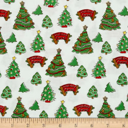 Storybook Christmas Christmas Trees White Fabric