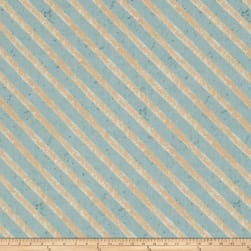 Woodland Holiday Stripe Blue Fabric