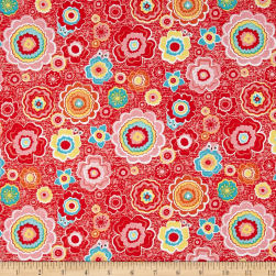 Riley Blake Tree Party Floral Red Fabric