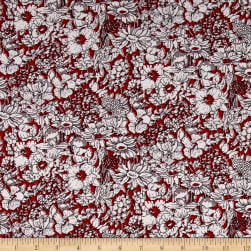 Telio Hampton Court Cotton Poplin Floral Red Fabric