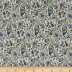 Telio Hampton Court Cotton Poplin Paisley Blue Fabric