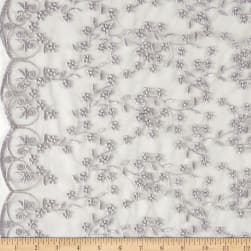 Telio Daisy Embroidered Lace Silver Fabric