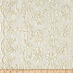 Telio Daisy Embroidered Lace Ivory Fabric