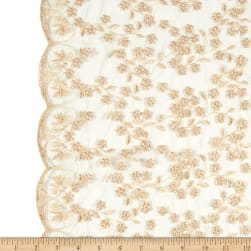 Telio Daisy Embroidered Lace Gold Fabric