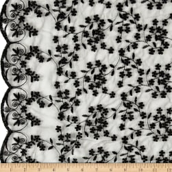 Telio Daisy Embroidered Lace Black Fabric