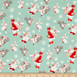 Joy, Love, Peace Bunnies Green Fabric