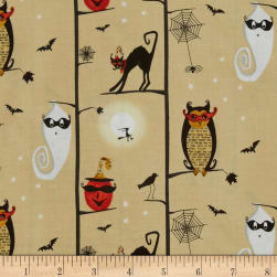 Cheeky Wee Pumpkins Owls/Cats In Trees Fabric