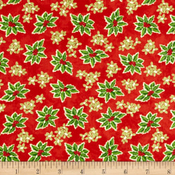 Winter Bliss Holly Allover Red Fabric