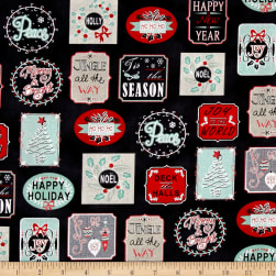 Christmas Wishes Holiday Work Labels Black Fabric