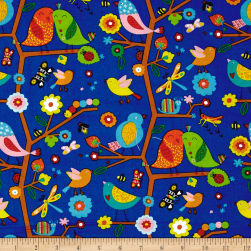 Backyard Buzz Birds And Company Blue Fabric