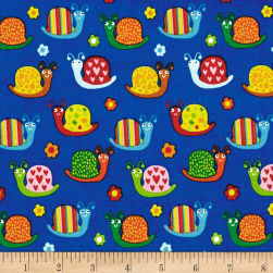 Backyard Buzz Snails Blue Fabric