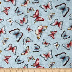 Simple Pleasures Butterflies Light Blue Fabric