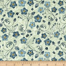 Simple Pleasures Floral Allover Light Green Fabric