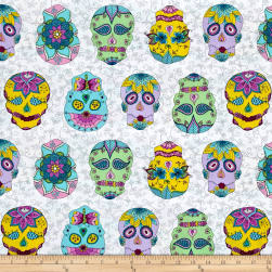 Day Of The Dragonfly Sugar Skulls White/Multi Fabric