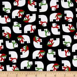 Kaufman Jingle 4 Polar Bears Black Fabric