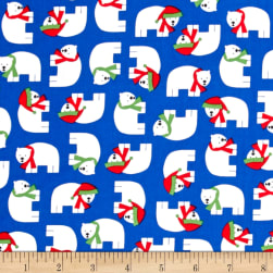 Kaufman Jingle 4 Polar Bears Royal Fabric