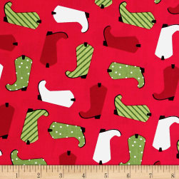 Kaufman Jingle 4 Boots Red Fabric