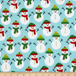Kaufman Jingle 4 Snowmen Aqua Fabric