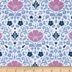 Ethereal Double Gauze Floral Damask Orchid Fabric