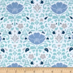 Ethereal Double Gauze Floral Damask Aqua Fabric