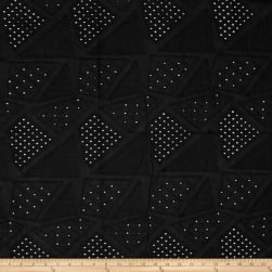 Telio Patchwork Eyelet Black Fabric