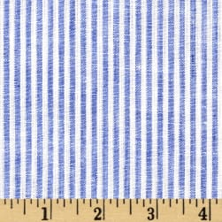 Telio Umbria Linen Blue Big Stripe Fabric
