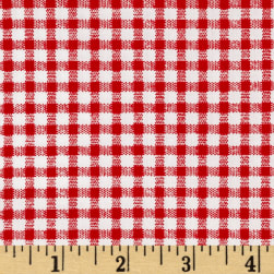 Telio Morocco Blues Stretch Poplin Gingham Print Red/White