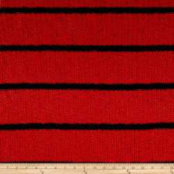 Designer Sweater Knit Stripe Red Navy Fabric