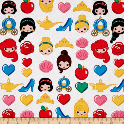 Disney Emojiland Princess Toss White Fabric