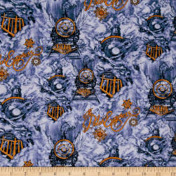 Polar Express Scene Blue Fabric