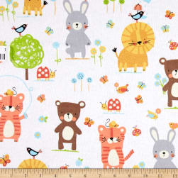 Michael Miller Nature Babies Flannel Nature Babies White