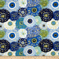 Michael Miller Valencia Dahlia Mix Blue Metallic Fabric