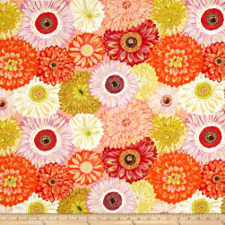 Michael Miller Valencia Dahlia Mix Orange Metallic Fabric