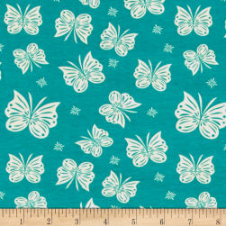 Riley Blake Cotton Jersey Knit Acorn Flutter Teal