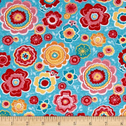 Riley Blake Jersey Knit Tree Party Floral Blue