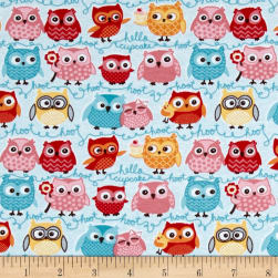 Riley Blake Jersey Knit Tree Party Owls Blue