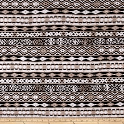 Jersey Knit Aztec Stripe Print Tan Black White