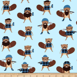 Kaufman Burly Beavers Collage Denim Fabric