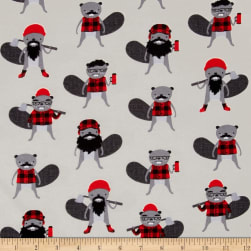 Kaufman Burly Beavers Flannel Collage Iron Fabric